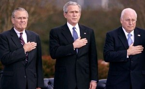 ARLINGTON, VA - DECEMBER 15: (L-R) US Secretary of Defense Donald Rumsfeld, US President George W. Bush and US Vice President Dick Cheney attend the Armed Forces Farewell Tribute to Rumsfeld at the Pentagon December 15, 2006 in Arlington, Virginia. Praise was heaped on the outgoing secretary by Bush and Cheney and Rumsfeld used his farewell speech to call for an increase in military spending. (Photo by Chip Somodevilla/Getty Images) *** Local Caption *** Donald Rumsfeld;George W. Bush;Dick Cheney